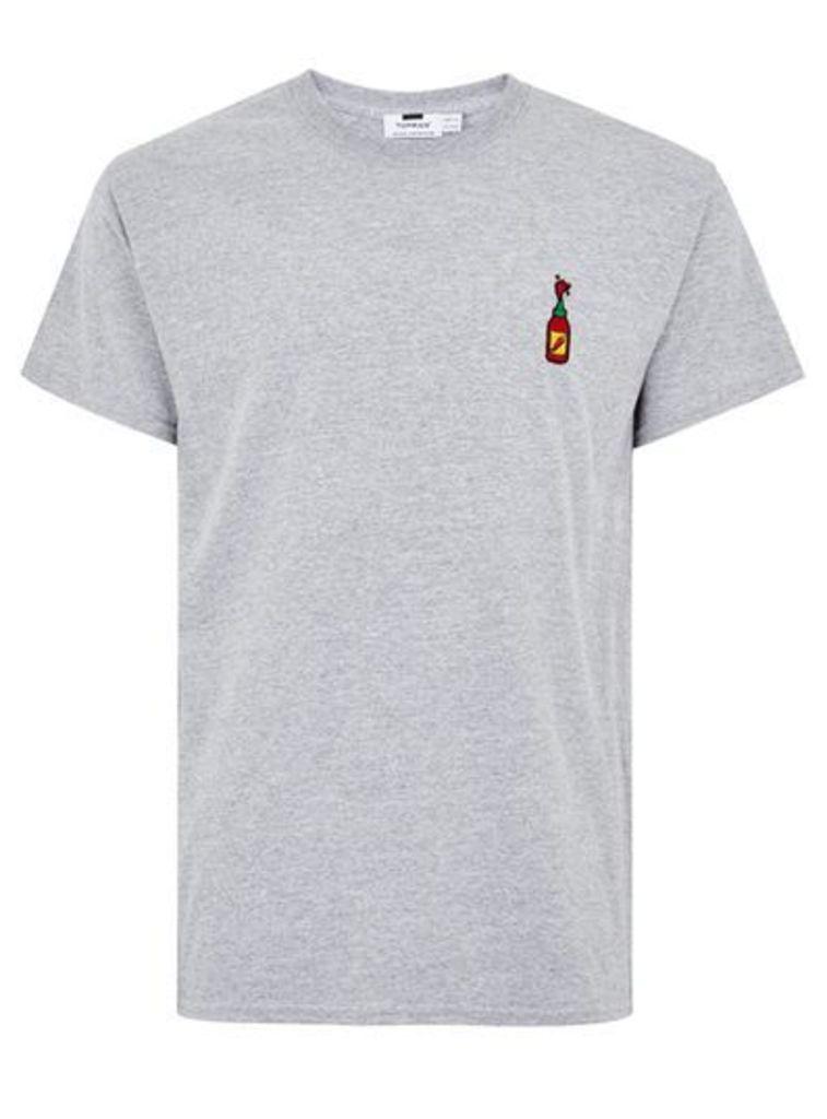 Mens Mid Grey Grey Hot Sauce Badge T-Shirt, Mid Grey