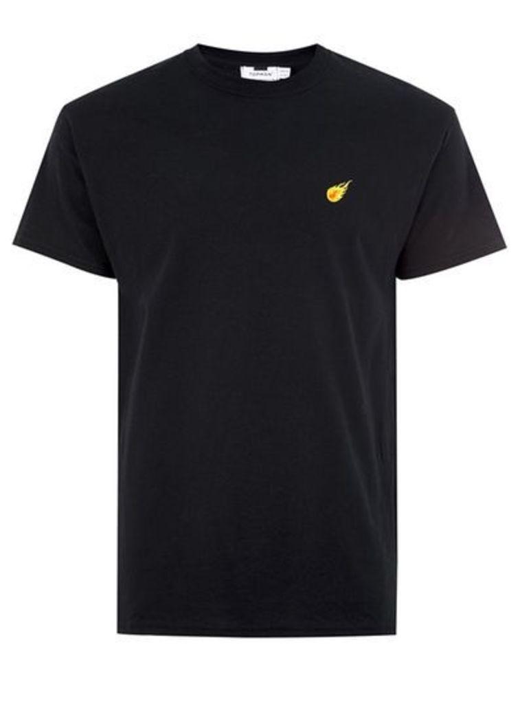 Mens Black Flame Badge T-Shirt, BLACK