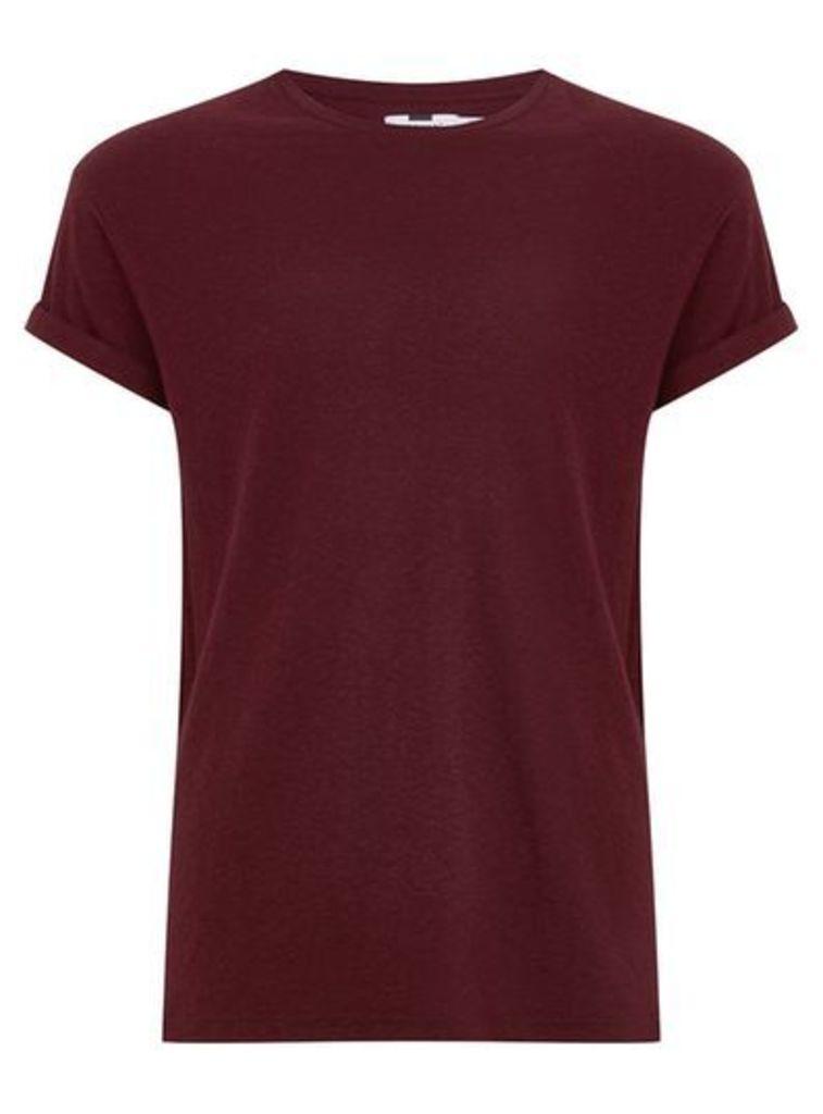 Mens Burgundy Linen Muscle Fit T-Shirt, Burgundy