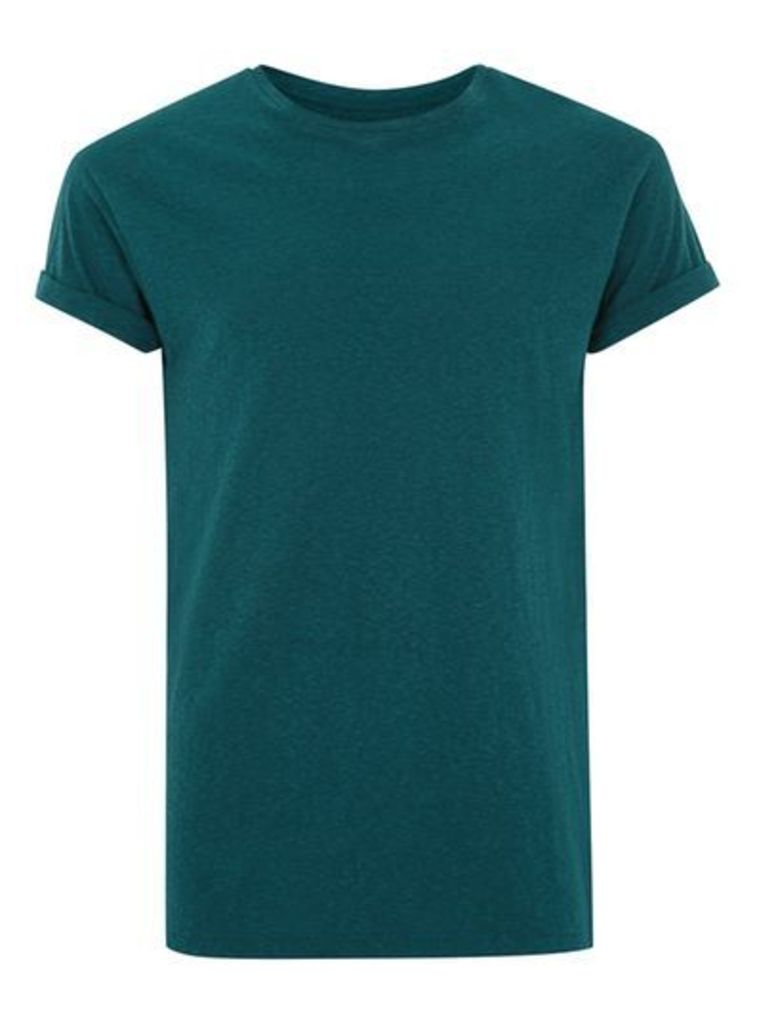 Mens Green Teal Linen Muscle Fit T-Shirt, Green