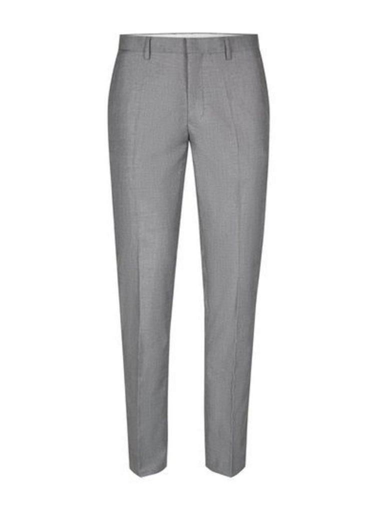Mens Grey Skinny Fit Suit Trousers, Grey