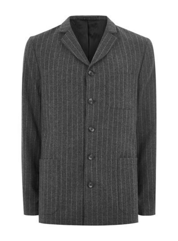 Mens TOPMAN DESIGN Grey Pinstripe Blazer, Grey