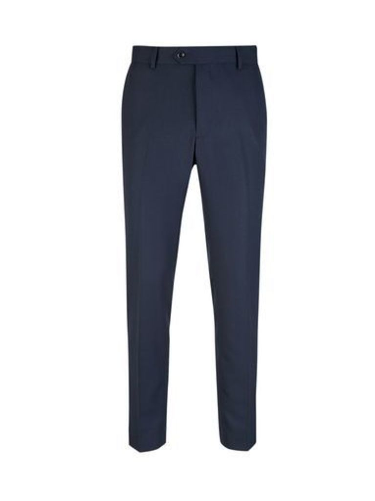 Mens Navy Pinstripe Skinny Fit Suit Trousers, Blue