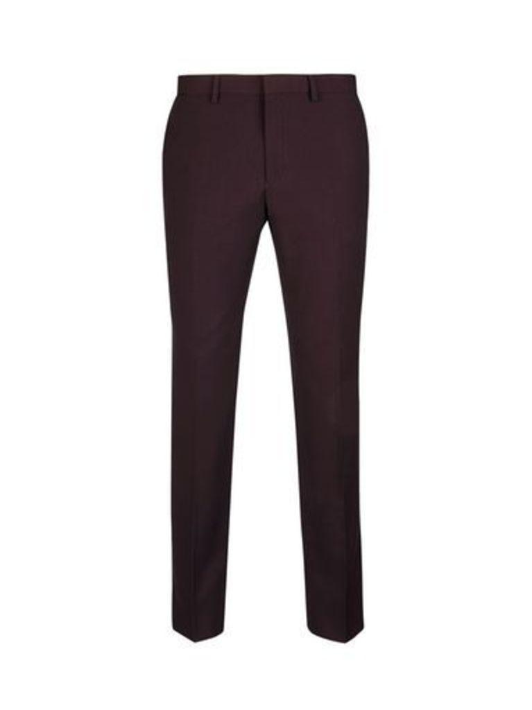 Mens Burgundy Skinny Fit Suit Trousers, BURGUNDY