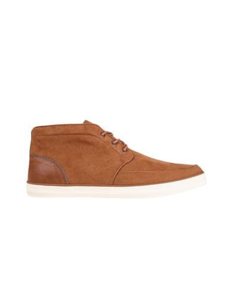 Mens Tan Suede Look Chukka Boots, TAN