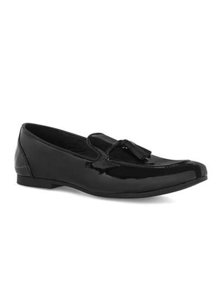 Mens Black Patent Flute Loafers, Black