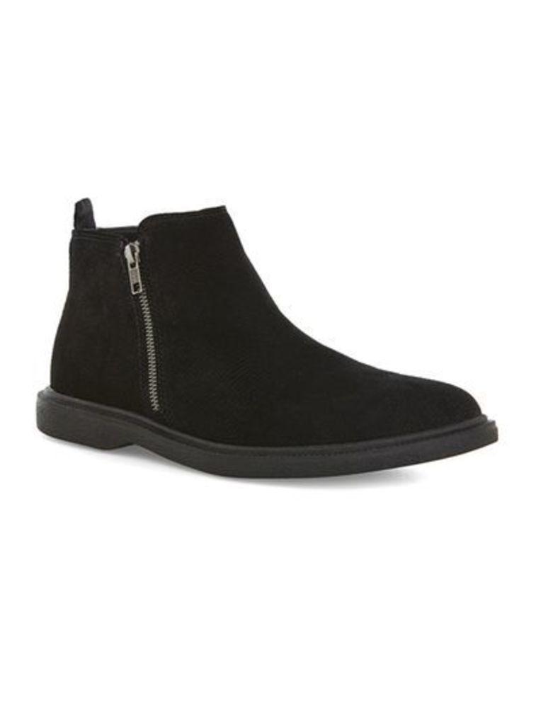 Mens Black Faux Suede Embossed Zip Boots, Black