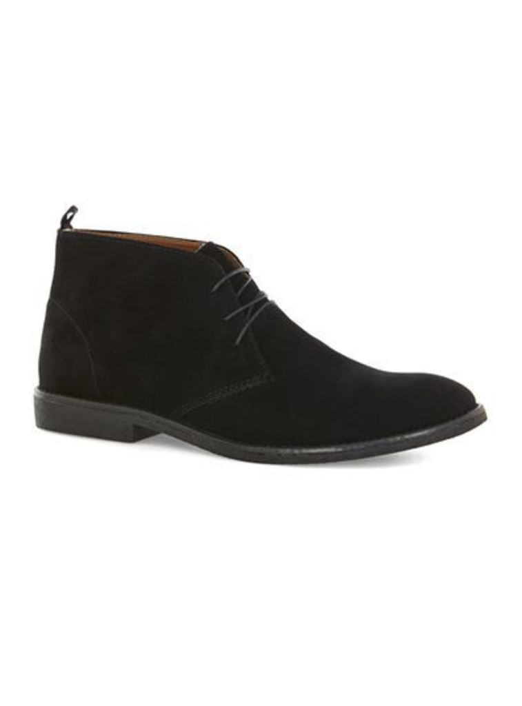 Mens Black Faux Suede Chukka Boots, Black