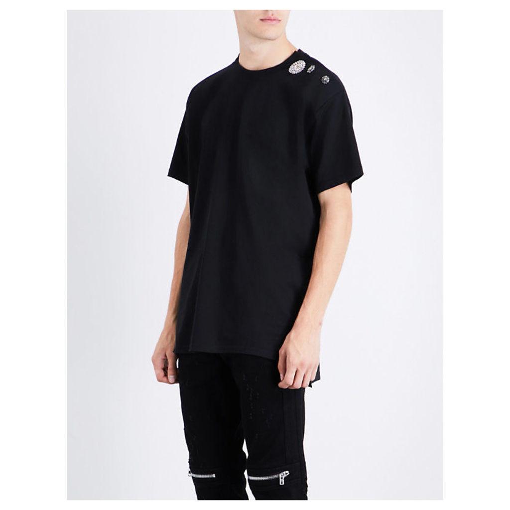 Embellished-shoulder cotton-jersey T-shirt