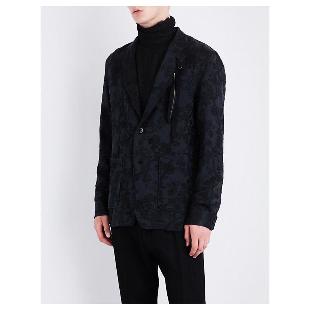 Feather-detail floral jacquard jacket