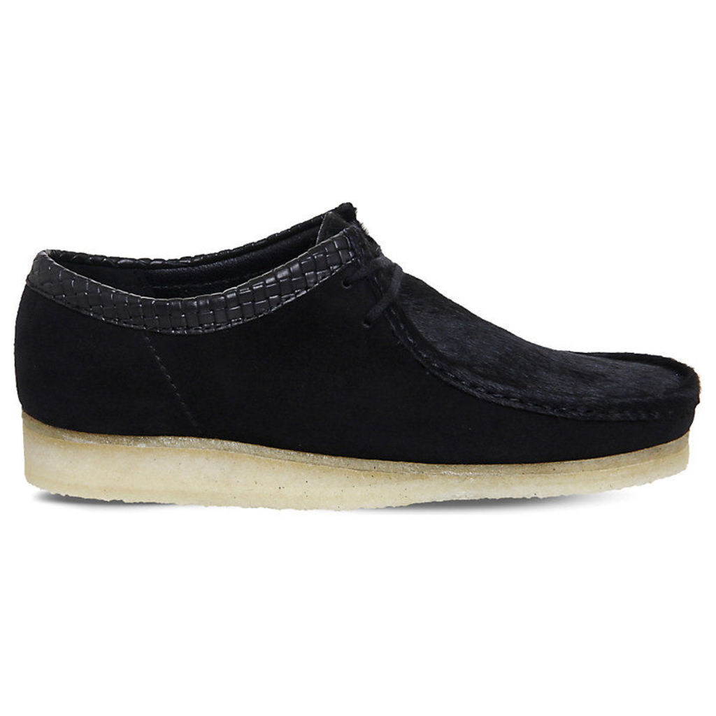 Wallabee suede and pony-hair derby shoes