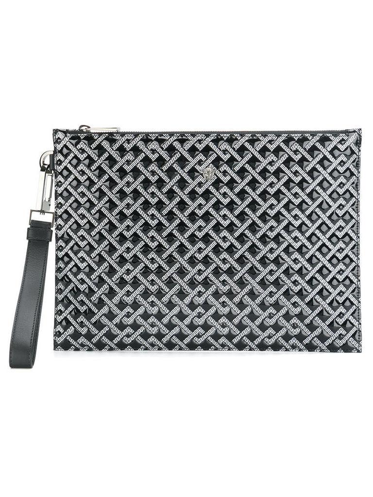 Versace - Greek Key patterned clutch bag - men - Patent Leather - One Size, Black
