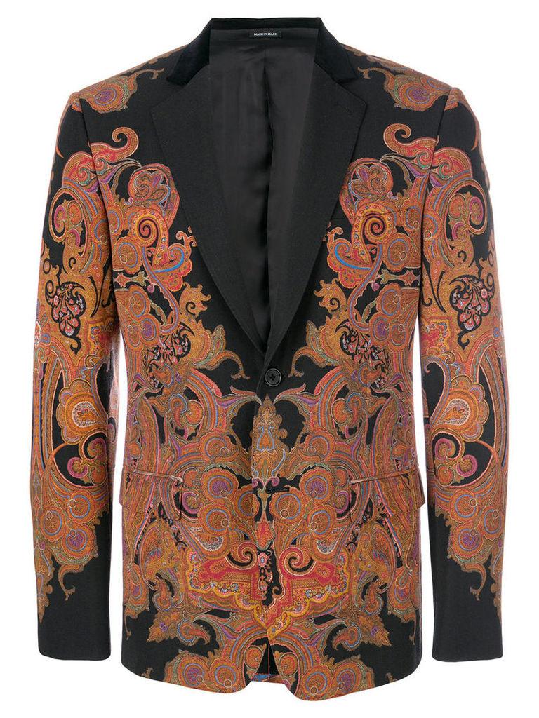 Alexander McQueen - Engineered Paisley blazer - men - Cotton/Polyamide/Polyester/Wool - 50, Black