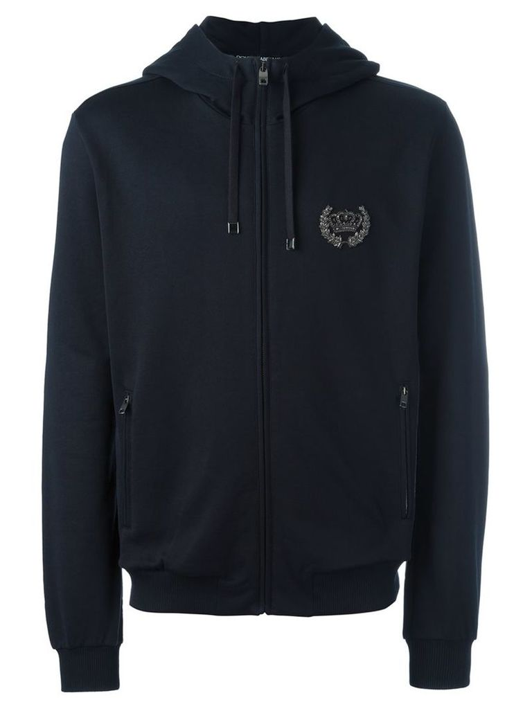 Dolce & Gabbana - crown patch hoodie - men - Cotton/Polyester/Metallic Fibre/copper - 46, Blue