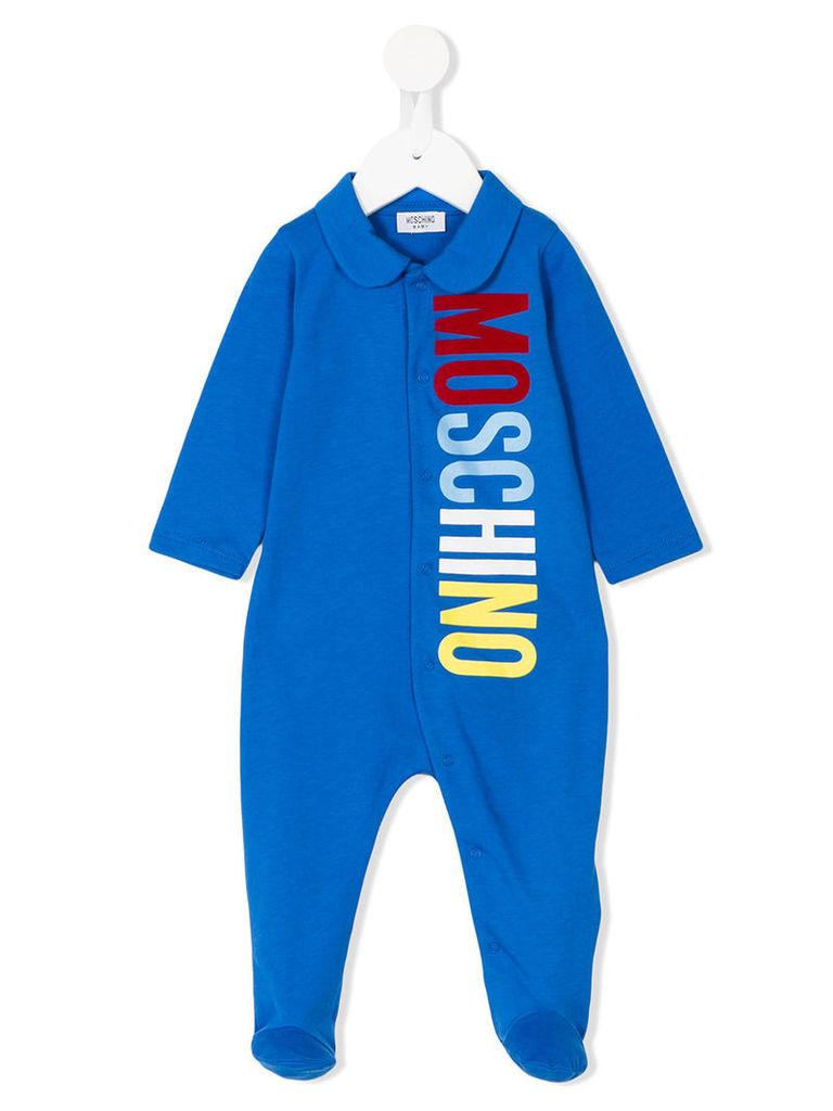 Moschino Kids - logo print pyjama - kids - Cotton - 9-12 mth, Blue