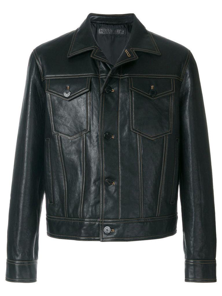 Neil Barrett - contrast stitch jacket - men - Leather/Cupro - M, Brown