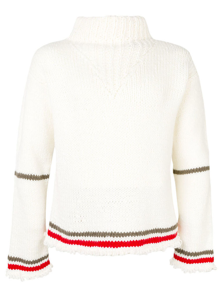 Maison Margiela - stripe detail jumper - men - Acrylic/Wool - L, White