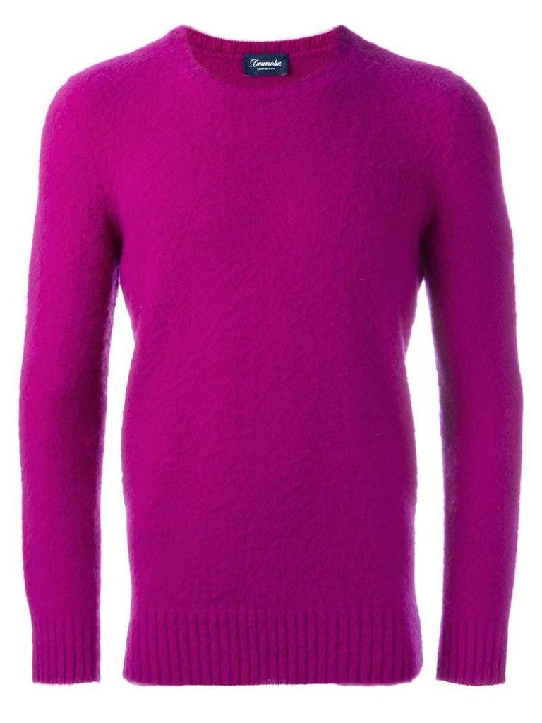 Drumohr - crew neck jumper - men - Lambs Wool - 50, Pink/Purple