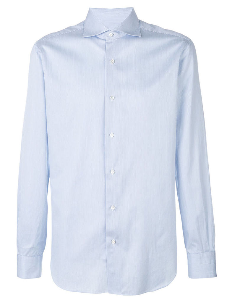 Barba - classic fitted shirt - men - Cotton - 39, Blue