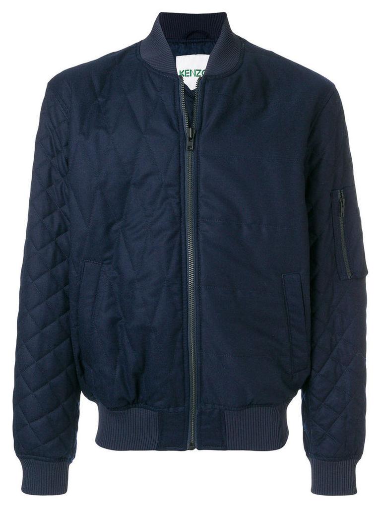 Kenzo - slim-fit bomber jacket - men - Cotton/Polyester/Acetate/Wool - M, Blue