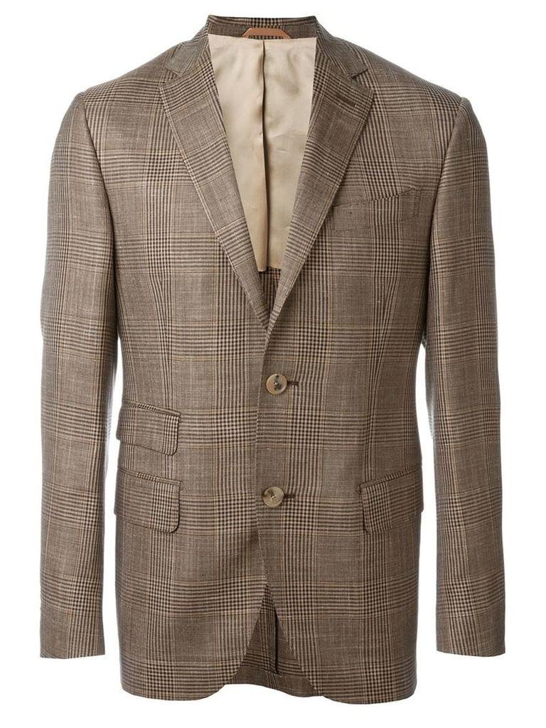 Fashion Clinic Timeless - checked blazer - men - Silk/Linen/Flax/Viscose/Wool - 54, Brown