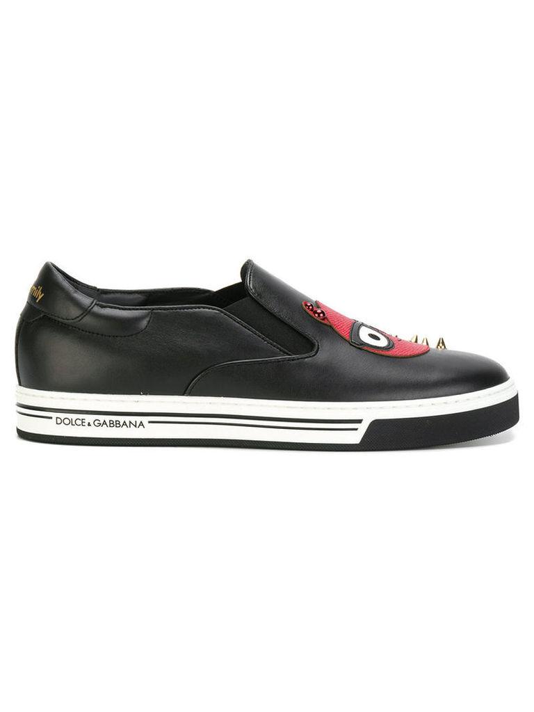 Dolce & Gabbana - Devil Designer patch sneakers - men - Leather/rubber - 43, Black