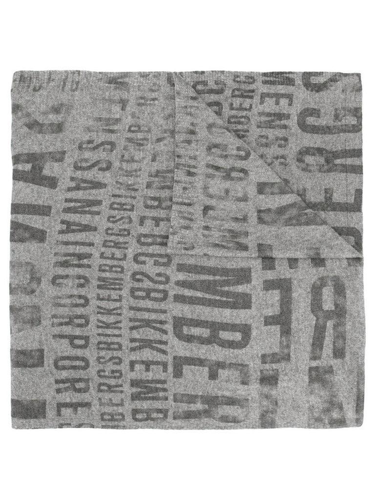 Dirk Bikkembergs - printed logo scarf - men - Polyamide/Viscose/Wool - One Size, Grey