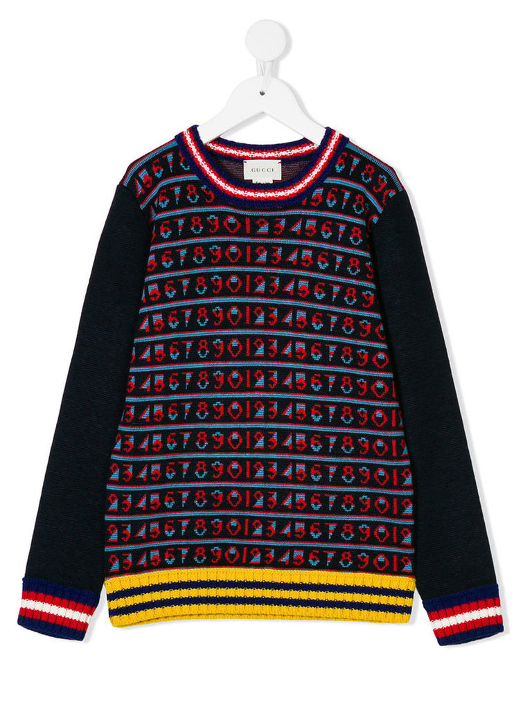 Gucci Kids - crew neck intarsia jumper - kids - Wool - 4 yrs, Blue
