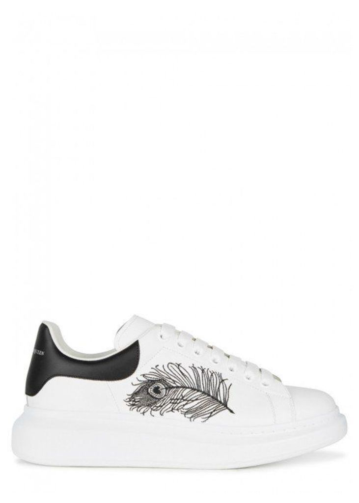 Alexander McQueen Larry White Embroidered Leather Trainers - Size 7