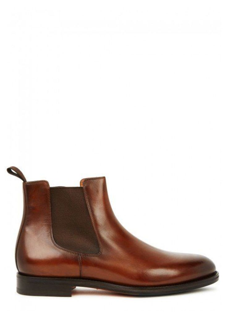 Santoni Brown Leather Chelsea Boots - Size 10