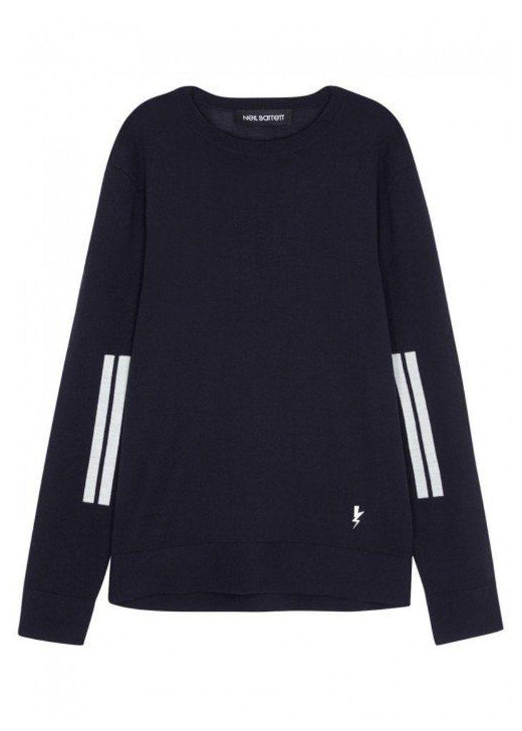 Neil Barrett Midnight Blue Striped Wool Jumper - Size M