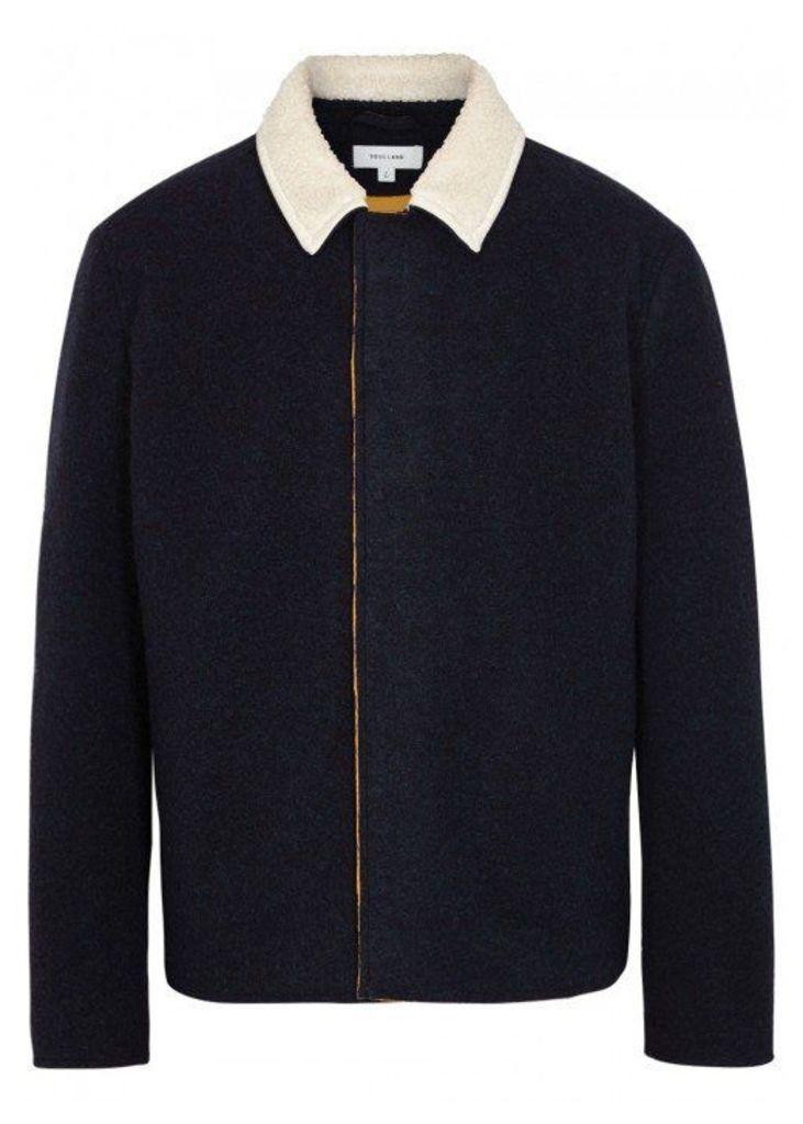Soulland Meng Navy Wool Blend Jacket - Size L