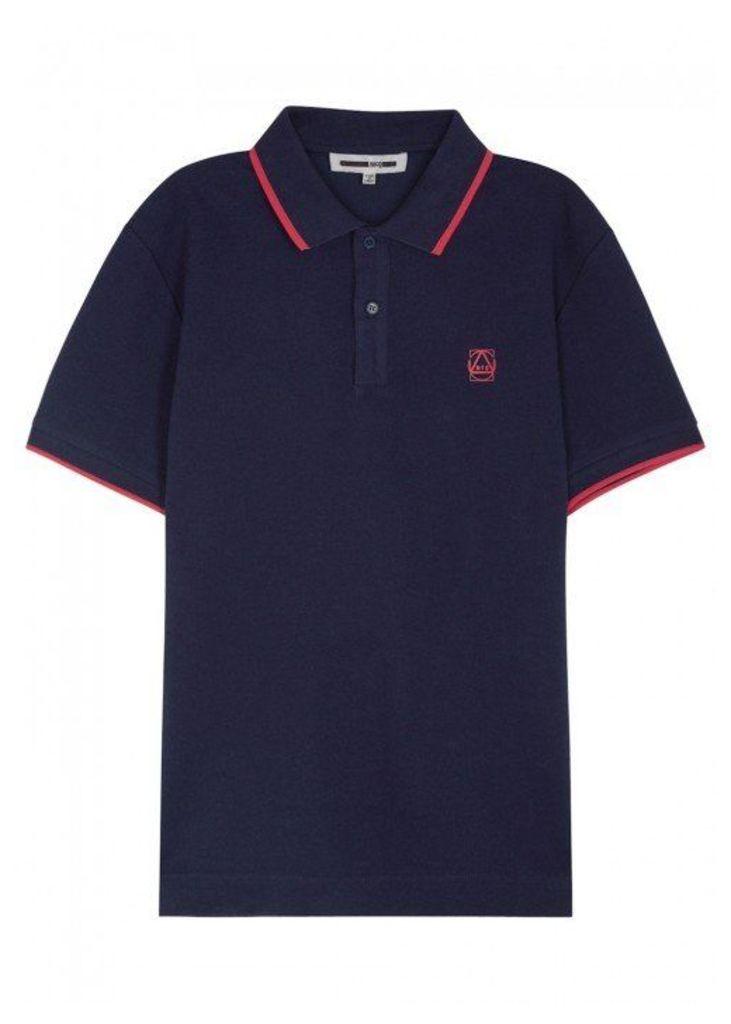 McQ Alexander McQueen Navy Piqué Cotton Polo Shirt - Size XS