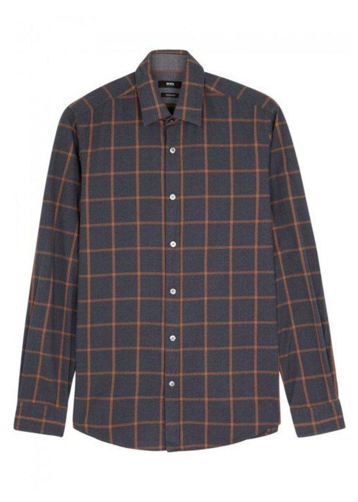 HUGO BOSS BLACK Lukas Checked Cotton Shirt - Size M