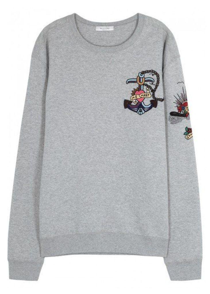 Valentino Tattoo-embellished Cotton Blend Sweatshirt - Size M