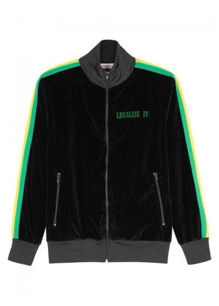 Palm Angels Black Striped Velvet Sweatshirt - Size XL