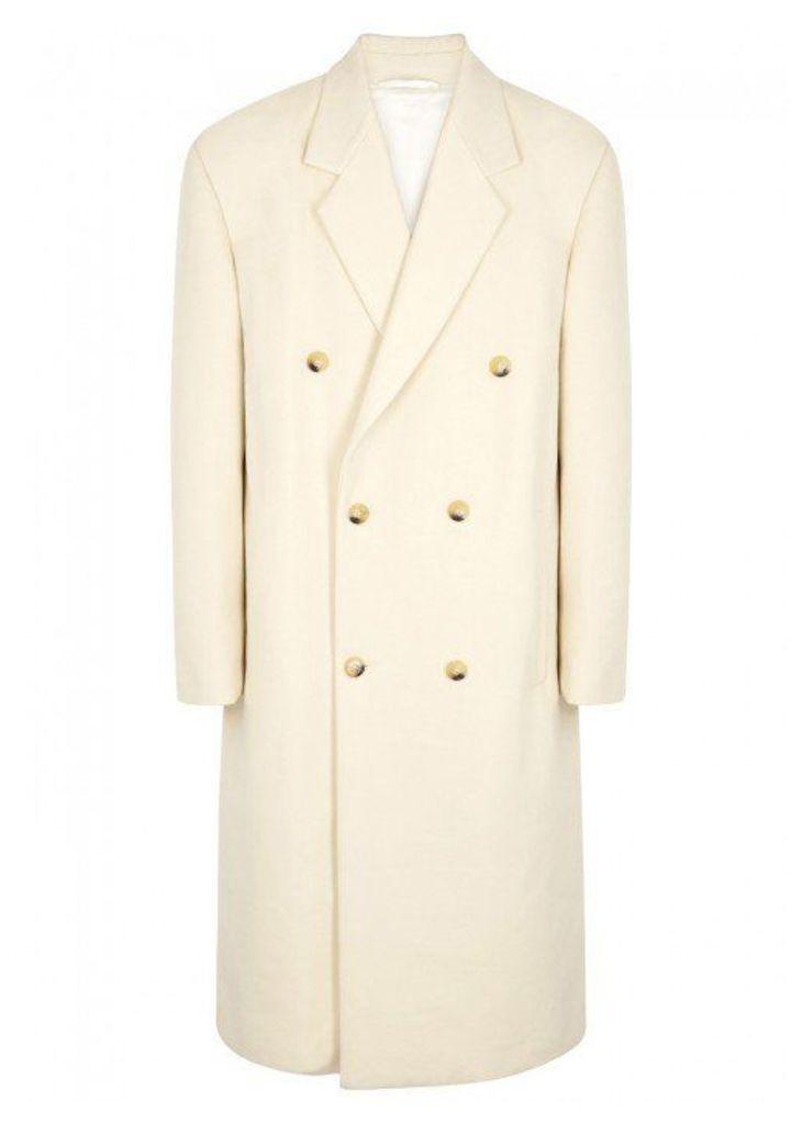 Raf Simons Cream Oversized Brushed Cotton Coat - Size 38