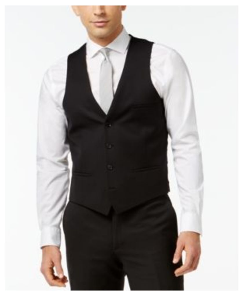 Bar Iii Black Solid Slim-Fit Vest