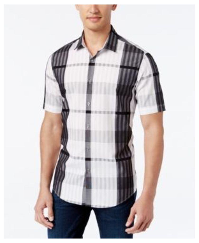 Alfani Men's Big and Tall Plaid Short-Sleeve Shirt, Slim Fit