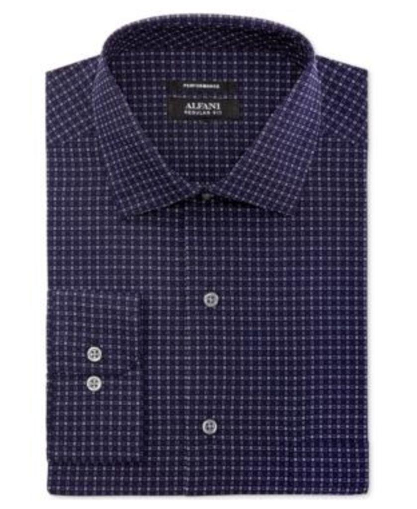 Alfani Men's Classic/Regular Fit Performance Stretch Easy Care Box Print Dress Shirt, Created for Macy's