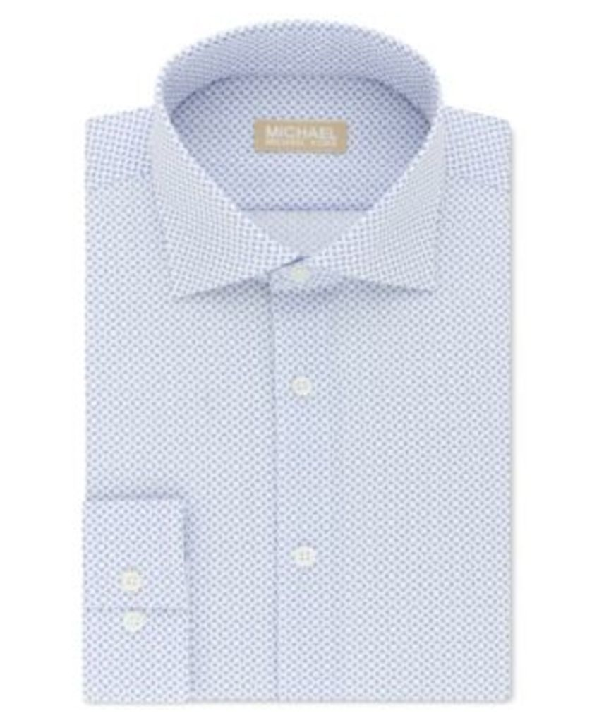 Michael Kors Men's Slim-Fit Non-Iron Blue Print Dress Shirt