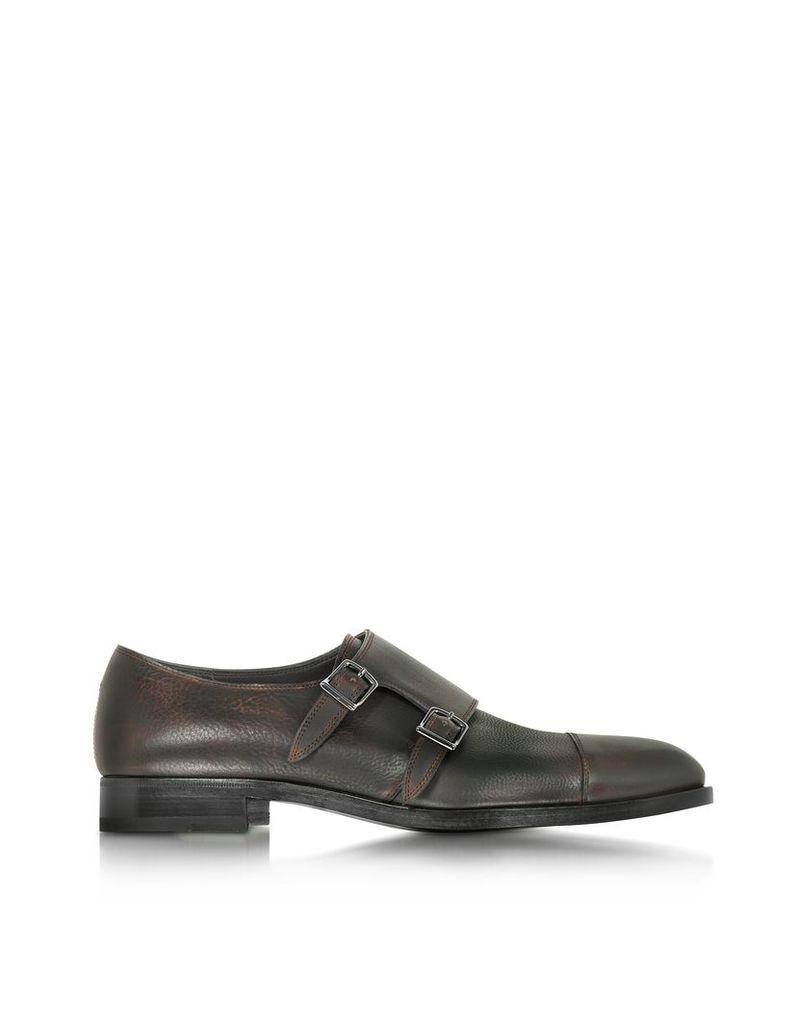 Fratelli Rossetti Shoes, Tobacco Leather Men's Monk Strap Shoe