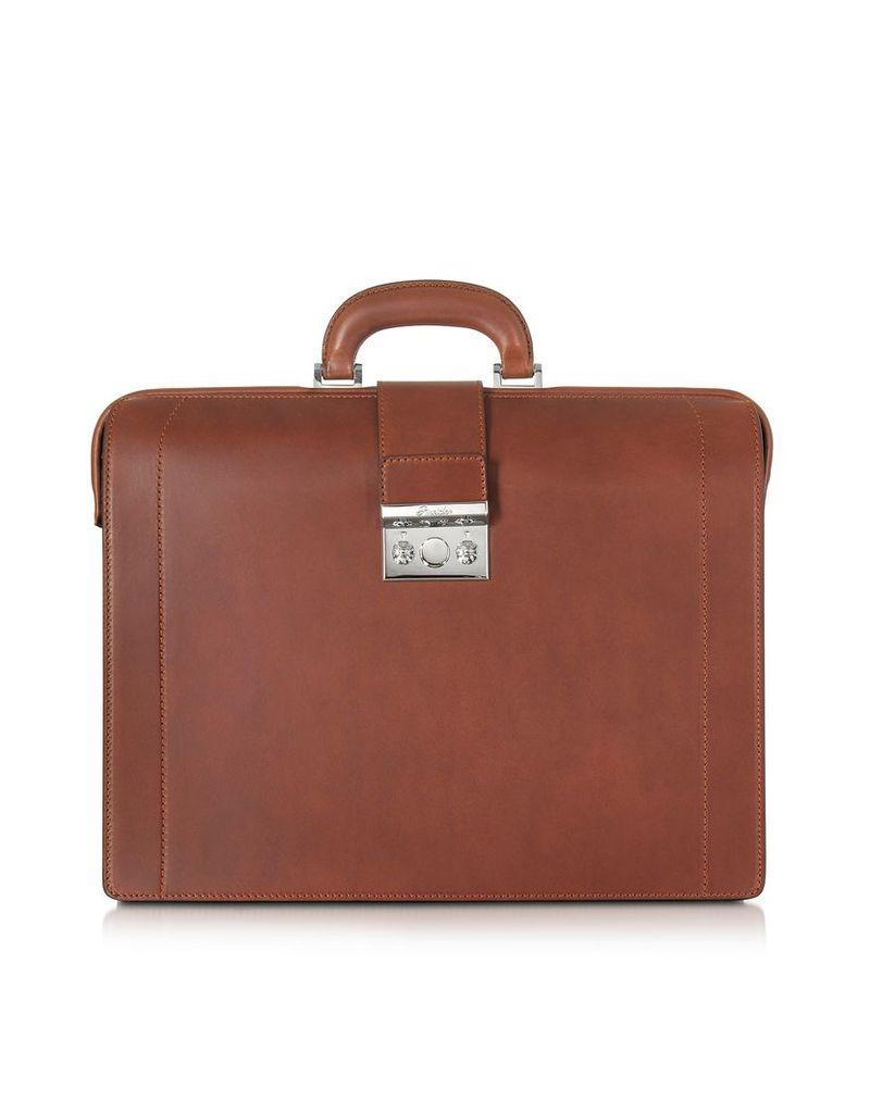 Pineider Briefcases, Medium Reddish Brown Leather Diplomatic Briefcase