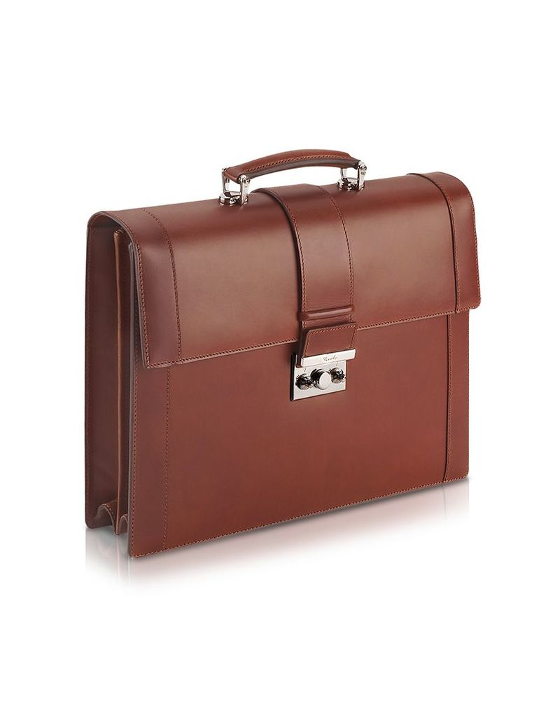 Pineider Briefcases, Power Elegance - Brown Double Gusset Leather Briefcase