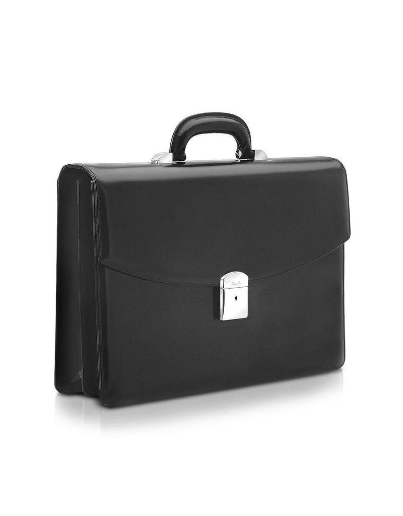 Pineider Briefcases, 1949 - Black Calfskin Double Gusset Briefcase