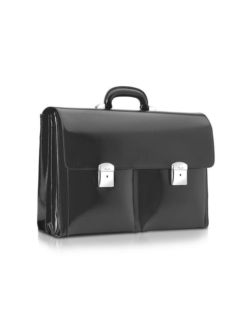 Pineider Briefcases, 1949 - Black Calfskin Triple Gusset Briefcase