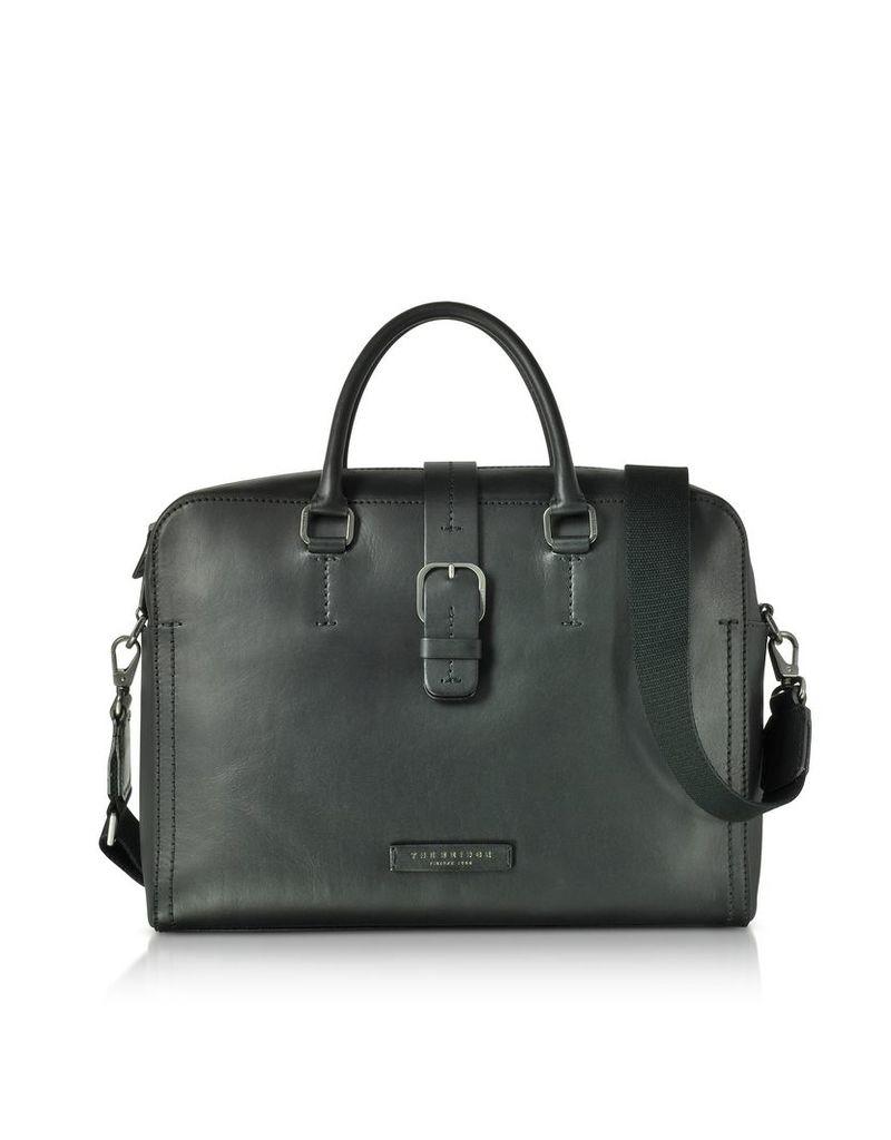The Bridge Briefcases, Black Leather Double Handle Briefcase w/Detachable Shoulder Strap