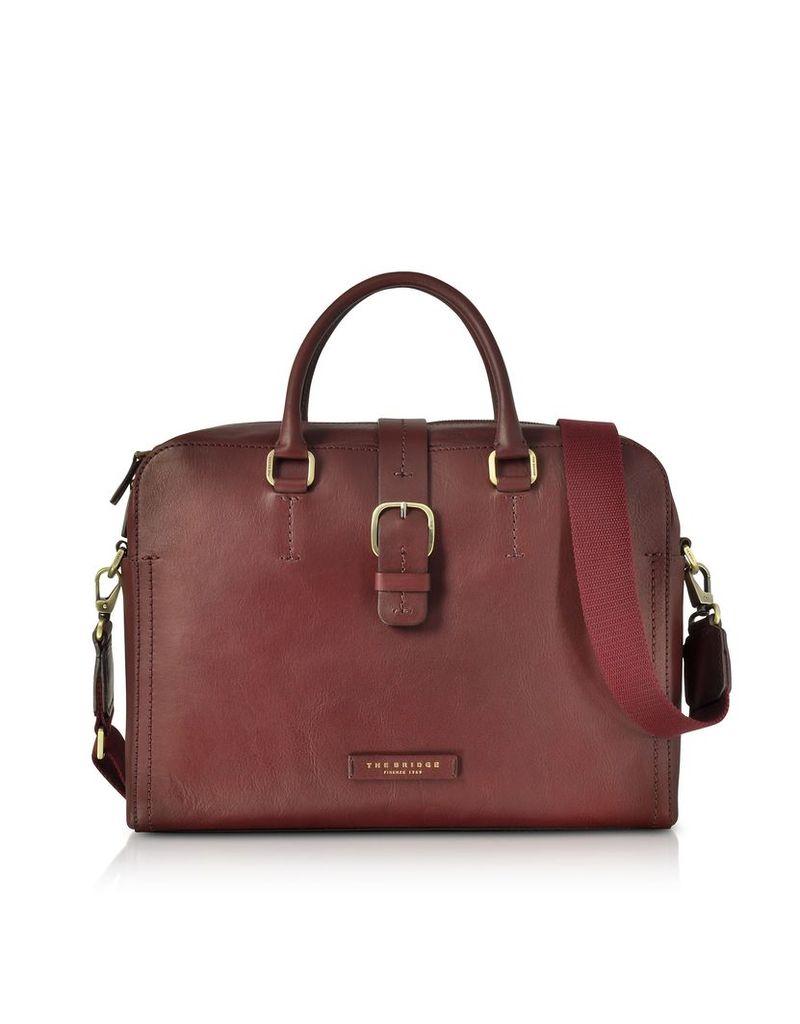 The Bridge Briefcases, Burgundy Leather Double Handle Briefcase w/Detachable Shoulder Strap