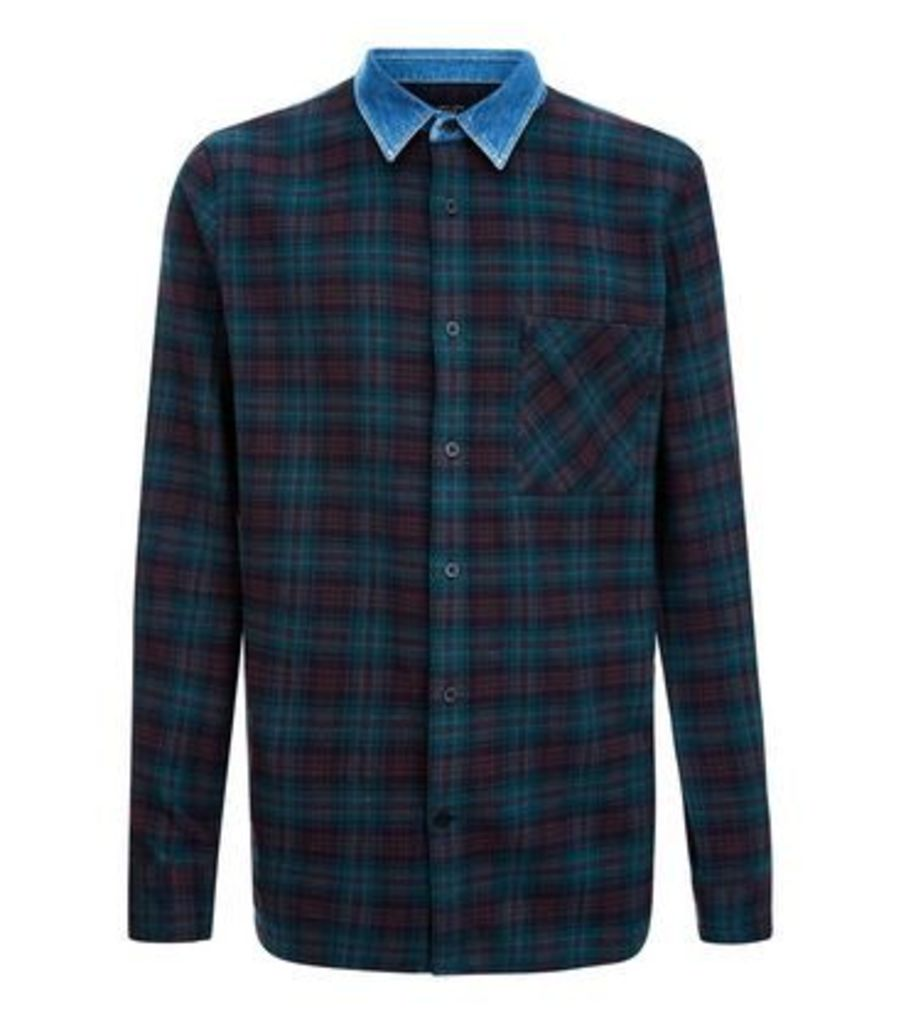 Green Check Denim Shirt New Look