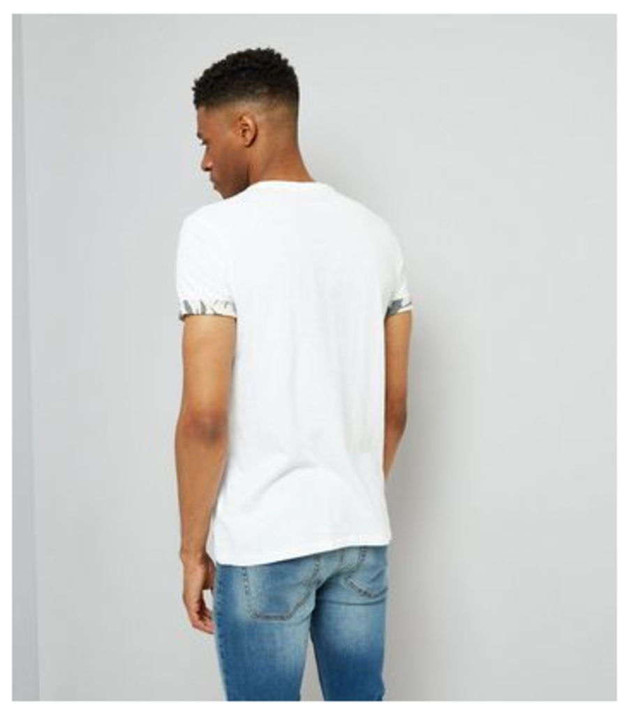White Leaf Print Pocket T-Shirt New Look
